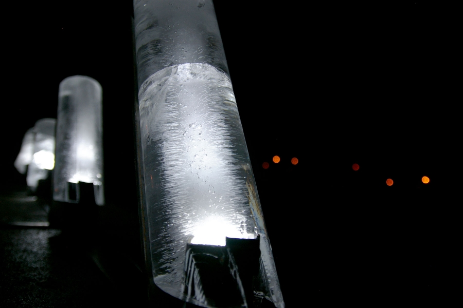 Physics-inspired Light-based ice sculpture at Hampshire College by Sarah Tundermann